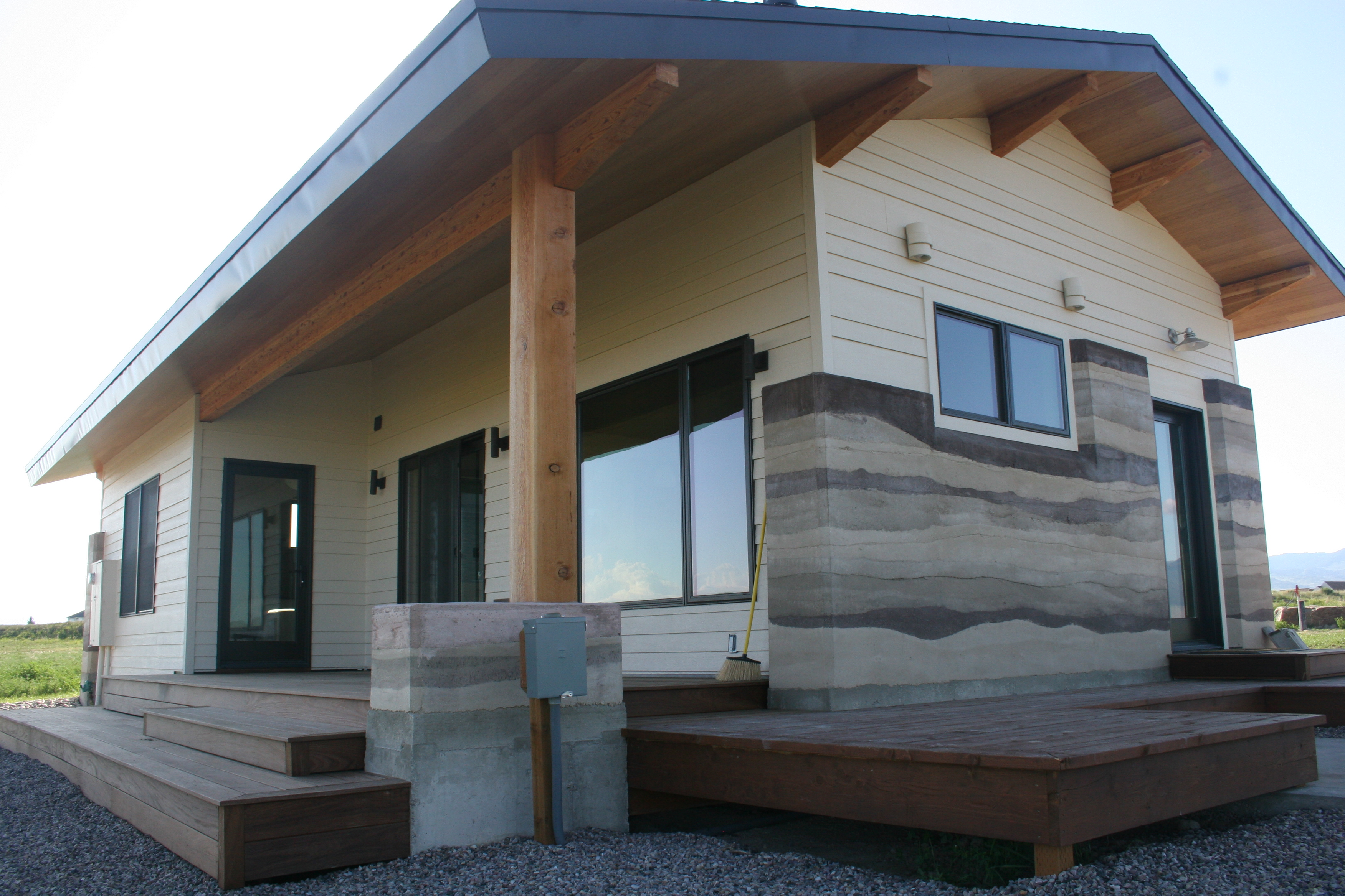 Eco-friendly building methods also includ a ground-source heat pump