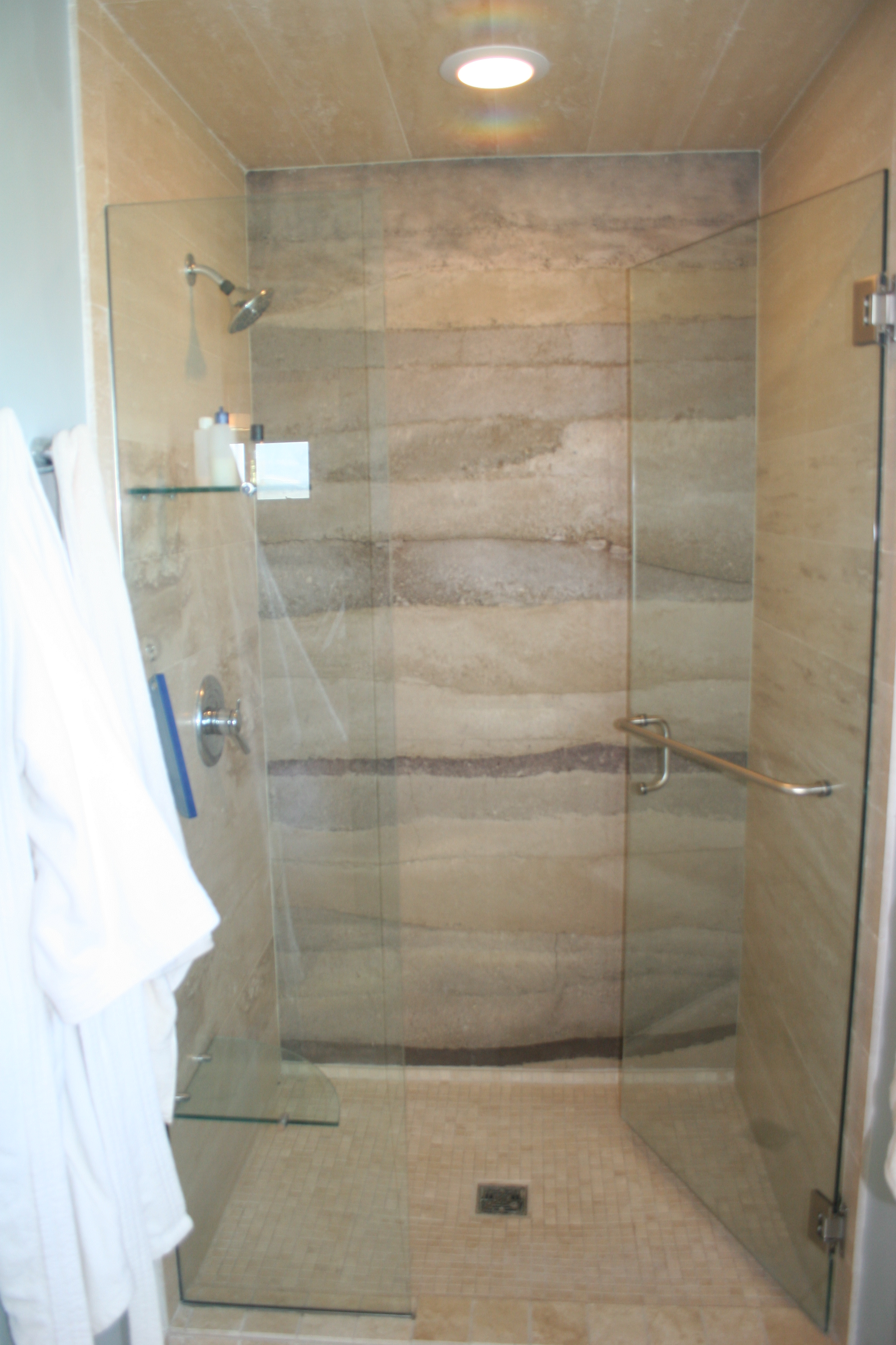 Wall sealed and exposed to shower