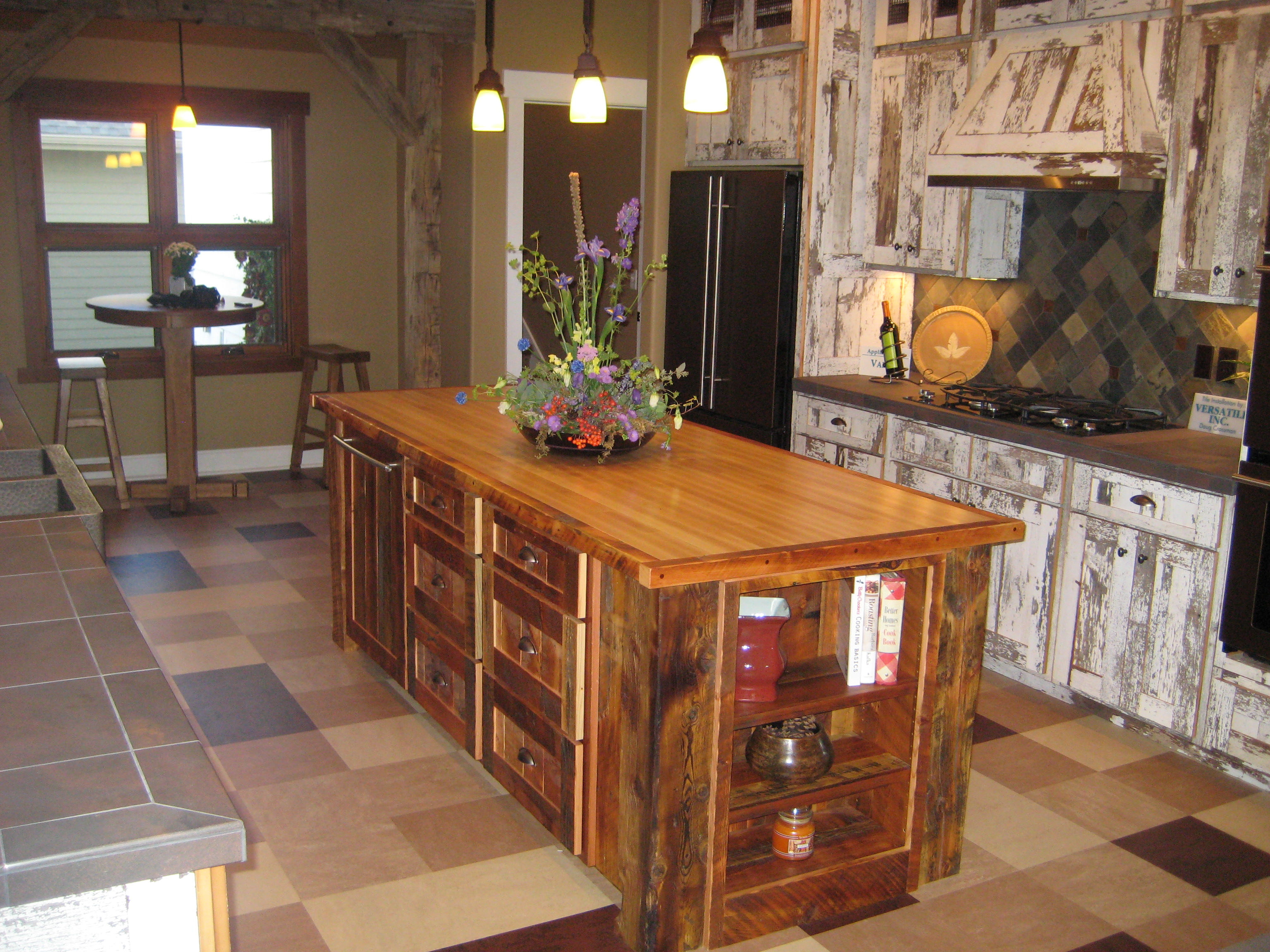 Custom cabinets made from reclaimed wood